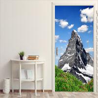 3D Alpine Mountains Self-Adhesive Door sticker Entrance Wall Mural Poster Decor