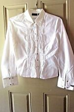 At Last Stretch Womens White Button Down Top Size Large