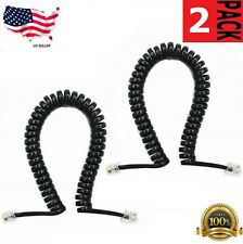 5 FT Telephone Handset Receiver Cord Phone Curly Coil Cable 4P4C RJ22 - Black