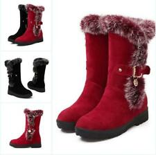 Women's Furry Lined Chunky Heels Mid Calf Snow Boot Winter Warm Shoes US Size