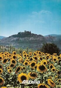 Original Vintage Poster Alitalia Umbria Sunflowers Italy Travel