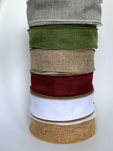 1M 38mm Country Wired Burlap Hessian Ribbon Rustic Christmas Bow Making Gift