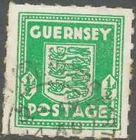 GB GUERNSEY 1941 1/2 d. Arms of Guernsey VFU emerald-green, VARIETY: right frame