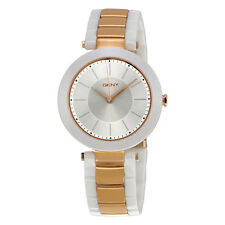 DKNY NY2290 Women's Stanhope Rose Gold Tone St Steel White Ceramic Band Watch