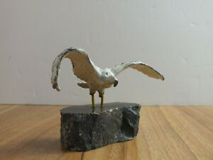 Vintage Painted Lead Seagull on Rock - Sidmouth Souvenir