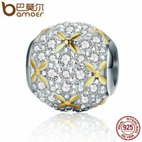 Bamoer European .925 Silver charm of light With clear cz Fit Bracelets Jewelry