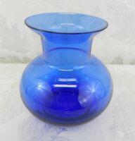 """Vintage Cobalt Blue Art Glass Vase 4"""" High"""