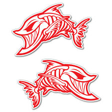 2x Fish Skulls Red Sticker Decal Boat Fishing Tackle 4x4 #6632EN