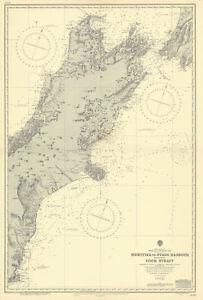 South Island New Zealand Hokitika-Otago Harbour ADMIRALTY chart 1907 (1954) map