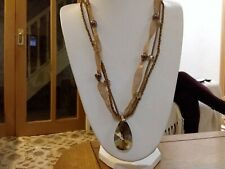 cord necklace with a large gold crystal Brand new long 3 strand bead ribbon and