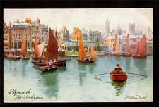 Tuck artist signed Wimbush boats Barbican Plymouth Uk postcard