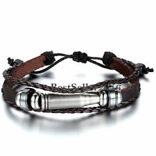 Bullet Tribal Handmade Leather Braided Multilayer Wristband Bracelet Mens Womens