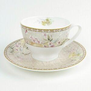 Hankook Fine Bone China Tea Cup & Saucer Set Floral & Butterfly Design Vintage