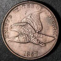 1857 FLYING EAGLE CENT - Near AU UNC