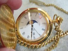 """CMI-GOLD TONE MOON PHASE 29 DAY-WITH 13""""CHAIN N CLIPS, RUNS GREAT-LOOKS GOOD"""