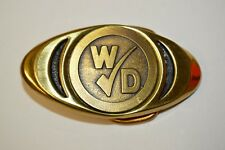 Vintage Small Occupational W Check D Slim Brass Belt Buckle Rare