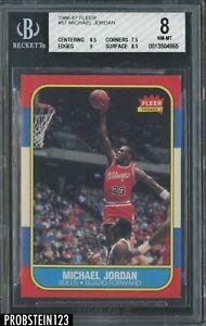 1986-87 Fleer Basketball #57 Michael Jordan RC Rookie HOF BGS 8 w/ 9 PACK FRESH