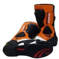 Men New Honda Repsol Racing Motorbike Leather Shoe Motorcycle Boot Moto GP