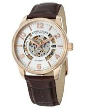 Stuhrling 649 02 Legacy Automatic Skeleton Date Brown Leather Strap Mens Watch