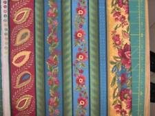 "red yellow and green florals in stripes - Northcott cotton 70"" x 45""  Ro Gregg"