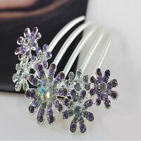 Women Crystal Rhinestone Petal Tuck Comb Flower Hair Pin Hair Clip Hairpin b
