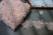 Good quality, lovely Peach/Pink Venise lace trim  - price for 1 yard