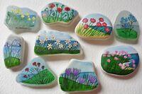 Hand painted sea glass beach pottery fridge art magnet gifts - Flowers seascape