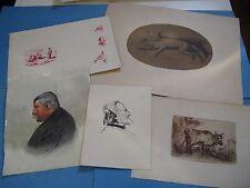 5 DESSINS ORIGINAUX AQUARELLES ECOLE FRANCAISE 1860-1911 PORTRAITS ANIMAUX Signé