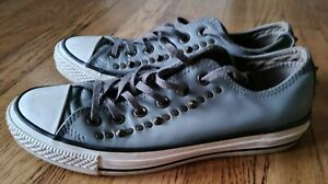 Converse All Star Low Gray Leather Spiked & Studded Sneaker Womens 8.5 Mens 6.5
