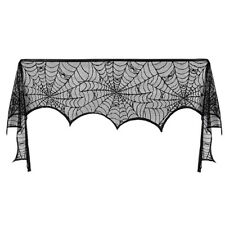 Halloween Fireplace Mantle Scarf Spiderweb Cover Black Lace Cobweb Table Decor