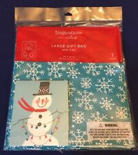 "Hallmark Large Christmas Gift Bag w/ Tag 36"" x 44"" Teal Blue w/ Snowflakes - NEW"