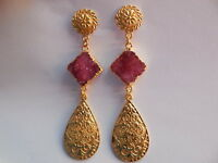 Druzy Gold Plated Long Earring - Druzy Dangle Earring-Gemstone- Fashion jewelry
