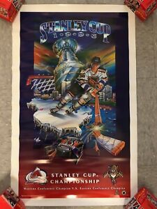 1996 HOCKEY POSTER* STANLEY CUP CHAMPIONSHIP PANTHERS VS AVALANCHE   27X17 PB3