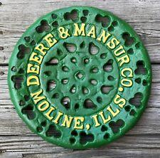 """DEERE & MANSUR Co., Moline, IL, Vintage 11.5"""" Cast Iron Seat Sign"""