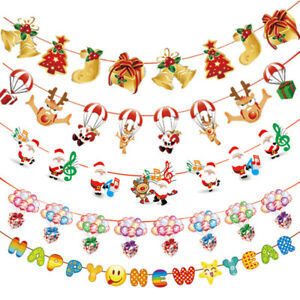 Merry Christmas Banner Bunting Garland Hanging Flag XMAS Home Party Decorations