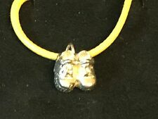 "Baby Boots TG100 English Pewter On 18"" Yellow Cord Necklace"