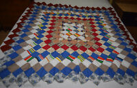 "Vtg- Trip Around the World - Quilt Top - Crib?Throw? - 55"" x 53"" - Hand Stitched"