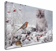 More details for kitten and robin in snow print x-large 30