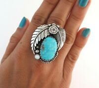 XL Sterling Silver & Turquoise w/ Mother of Pearl Size 6.75 Statement Ring