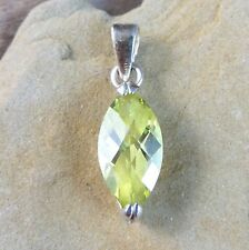 Vintage Lemon Yellow Marquise Topaz Sterling Silver Pendant For Necklace #221
