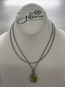 Jilzara Summer Cottage Teardrop Double Chain Necklace Polymer Clay Beads 512-031