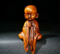 Collect Old Boxwood Japanese Netsuke carved monk Pray buddha Statue figurines