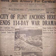 City Of Flint Merchant Ship Ends 114 day War drama January 27 1940 BNP CM