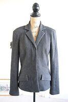 BNWOT Diane Von Furstenberg Wool Grey Tweed Jacket Blazer 14 Herringbone Large L