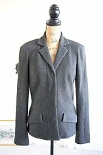 BNWOT Diane Von Furstenberg Wool Grey Tweed Jacket Blazer 14 Herringbone Large L