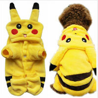 Pet Clothes Dog Pikachu Yellow Sweater Hoodie Cat Coat Puppy Apparel Costume