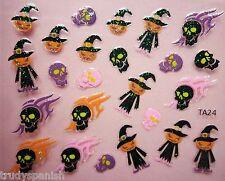 Halloween Nail Art Adesivi Decalcomanie Neon Glitter TESCHI ZUCCHE SMALTO GEL (24)