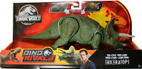 Jurassic World ~ DUAL ATTACK TRICERATOPS ACTION FIGURE ~ Dino Rivals