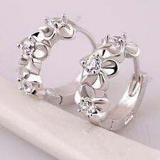 Cubic Zirconia Flowers Huggie Earrings Sterling Silver Plate 12mm Diameter Hoop