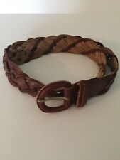 Woman's Brown Belt Genuine Leather Braided